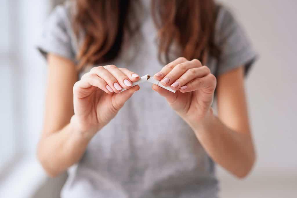 a lady stopping smoking